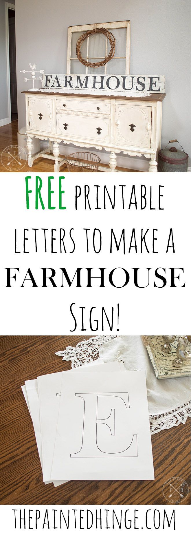 Don't have stencils or a stencil cutting machine? No problem! Just use these free printable letters to make a farmhouse sign!