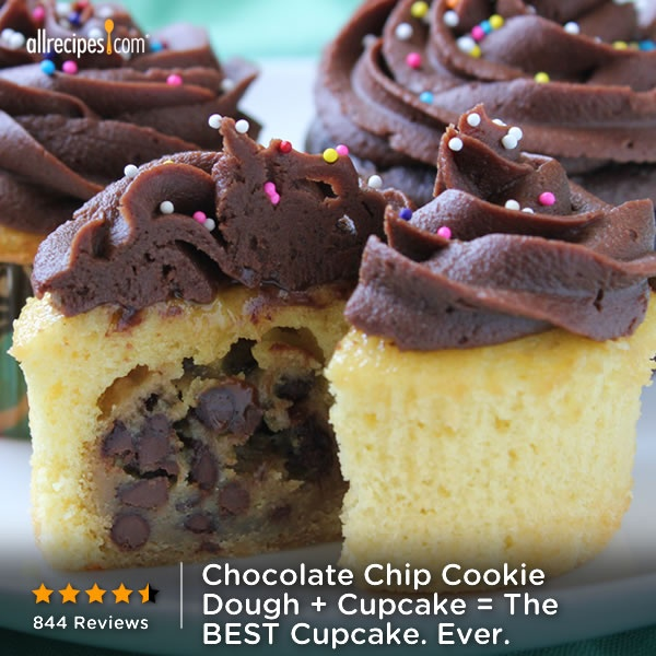 ... Dough Cupcakes, Fun Recipes, Cookies Dough Cupcakes, Chocolate Chips