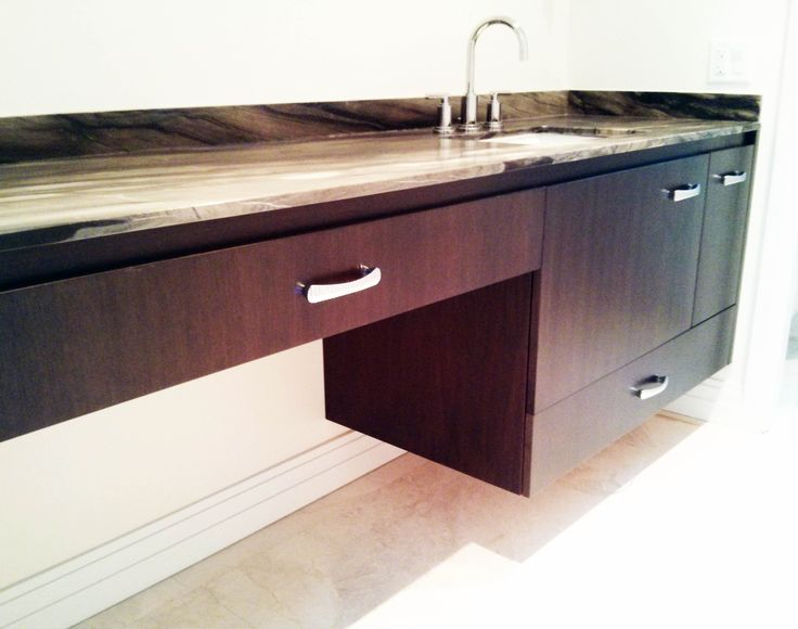 Stunning Floating Vanity for Your Bathroom Remodeling: Marvelous Dark Brown Mahogany Floating Vanity With Single Sink With Chrome Arch Faucet With Grey Granite Tops Plus White Wall Tiles Flooring Modern Bathroom Furnishing Decor With Minimalist Style Ideas