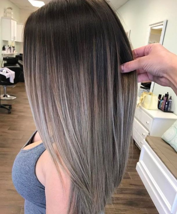 Best Hair Color To Cover Gray For Brunettes Revuebretagnes Com Balayage Straight Hair Ash Brown Hair Color Hair Styles