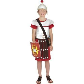 Take charge of your kingdom with this Marvellous Kids Boys Roman Soldier Fancy Dress Costume. The costume consists of a Red Mid Length Tunic which features Silver Body Armour and a Silver Warriors Hat. This is an Exquisite Costume from our Legends and Myths Range. M: age 7 - 9 L: age 10 -12