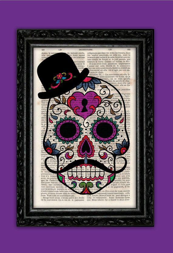 Calaca Sombrero Bigote Vintage Impresión - Calavera Dia de los Muertos Lámina Cabeza Diccionario Decoración Libro Poster Pared Afiche Regalo