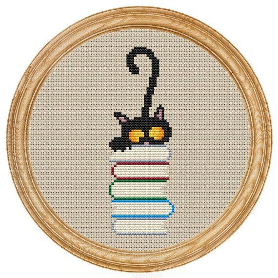 Cross Stitch Pattern PDF cat and books DD0071 by HappyStitches4You