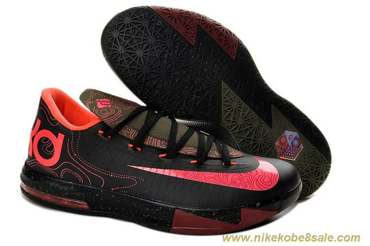 Cheap Womens Nike KD VI 599424-006 Black Atomic Red-Medium Olive-Fire