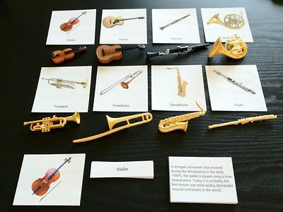 Montessori Musical Instrument Replica 3 Part Cards by Papyruswork: