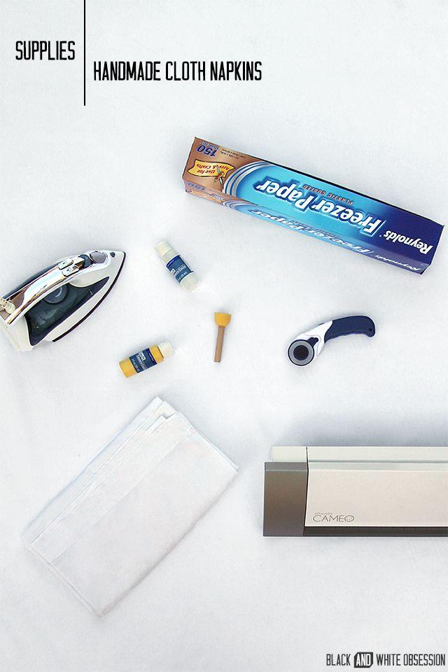 Supplies to make Freezer Paper, Cloth Napkins | www.blackandwhiteobsession.com