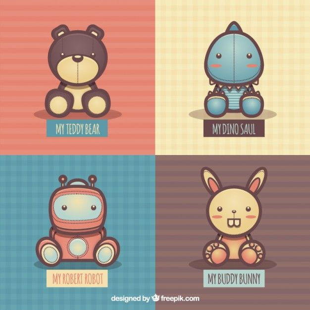 Free vector Variety of fluffly toys #267