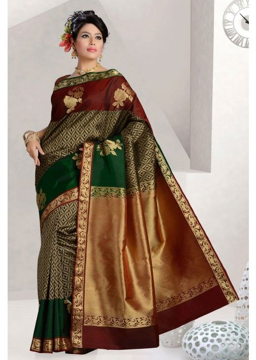 Pure silk green discerning saree with maroon & gold border -SR10335