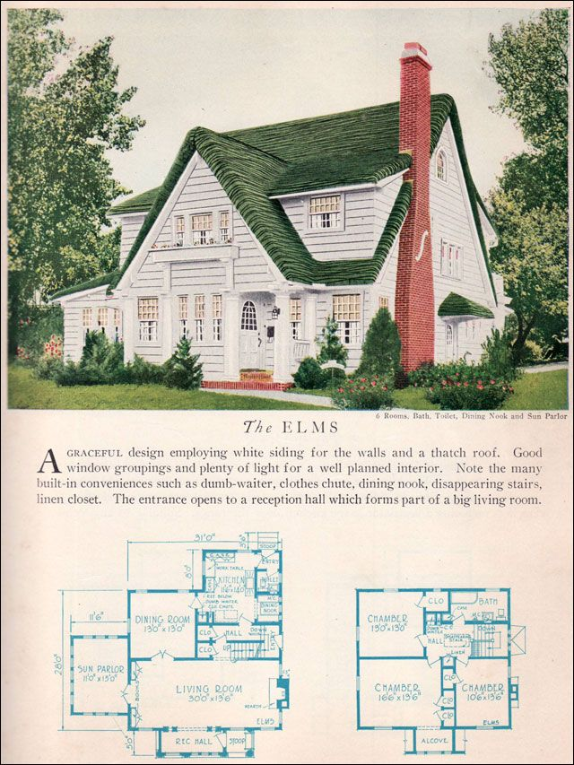The 1929 Elms - Electic Storybook - Home Builders Catalog - Vintage Home Architecture