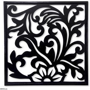 NOVICA Balinese Floral Theme Wood Carving Wall Panel