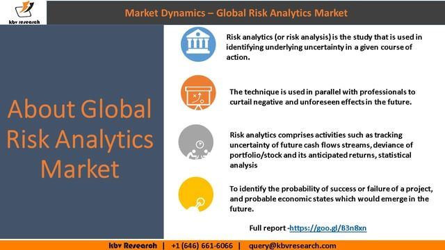 According to a new report Global #Risk #Analytics Market (2017-2023), published by KBV Research, the global Risk Analytics Market is expected to attain a market size of $43 billion by 2023, growing at a CAGR of 17% during the forecast period. Full report: https://kbvresearch.com/global-risk-analytics-market/ Contact us: 244 Fifth Avenue, Suite 1407 New York, N.Y. 10001 United States (U.S) Tel: +1 (646) 661-6066 Email : info@kbvresearch.com Full report:https://goo.gl/B3n8xn