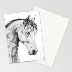 Graphite Pencil Drawing Horse Portrait Stationery Cards