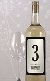 Wine with Table number & Couples details and date.