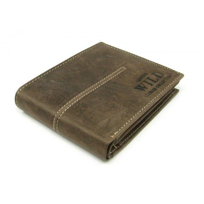 Kožená hnědá pánská peněženka - peněženky AHAL