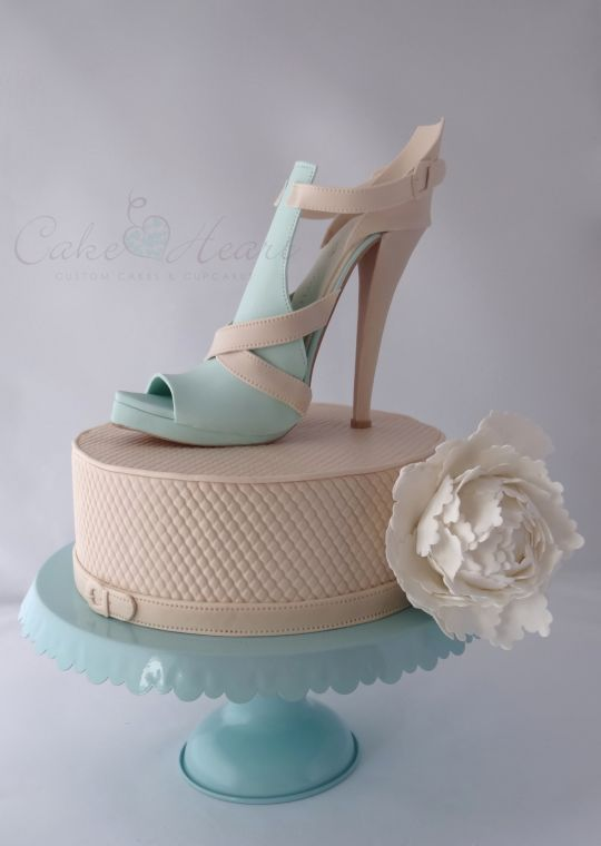 'sand and aqua stiletto shoe' Cake Master Magazine ~issue 21~ June 2014