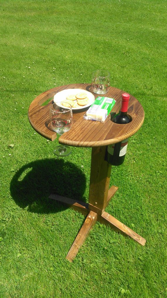 Portable Folding Wine Table With Optional Base by Rochcustomworks
