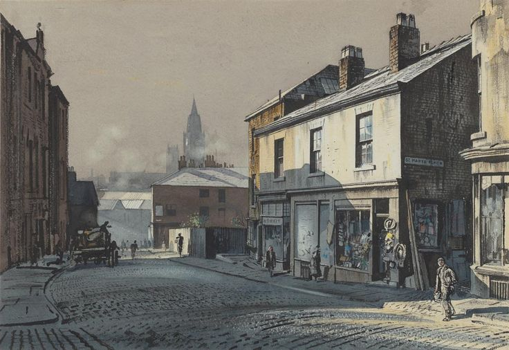 "Artist: Rowland Hilder (1905-1993) Title: Toad Lane, Rochdale Medium: Watercolour on paper Exhibition ""Pure Gold: 50 Years of the Federation of British Artists"", The Mall Galleries, London, 8-19/2/2011. Dimensions: height: 35.00 cm, width: 51.00 cm Inscription: none visible Acquisition: Purchased from the Royal Institution of Painters in Watercolours, May 1951 Location: UK, London, Government Art Collection"