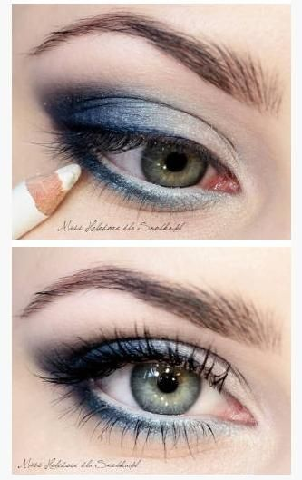 Blue and White Makeup