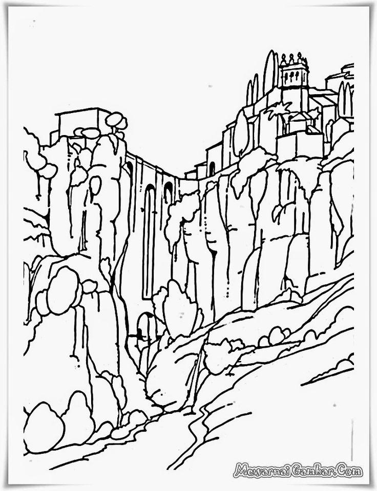 buku mewarnai gambar pemandangan pegunungan