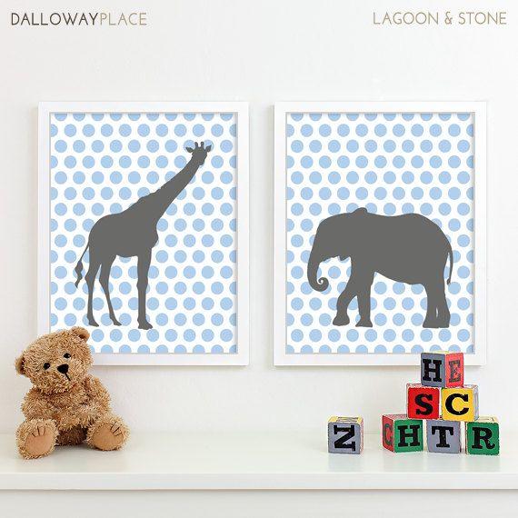 Kids Art for Children, Baby Nursery Decor, Zoo Jungle Nursery Art Print, Safari Animal Nursery Wall Art Chevron Kids Decor - Two 11x14