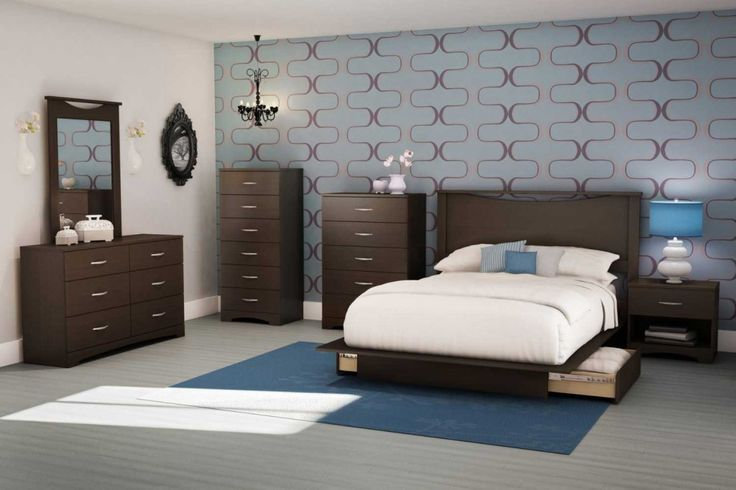 South Shore contemporary bedroom furniture set with wooden nightstand and 6 drawer dresser
