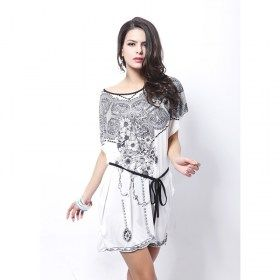 Bohemian Style Royal Lace Flowers Print Top Blouse Mini Dress