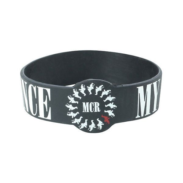 My Chemical Romance Black Parade Die-Cut Rubber Bracelet Hot Topic ($5.60) ❤ liked on Polyvore featuring jewelry, bracelets, rubber bangles and rubber jewelry