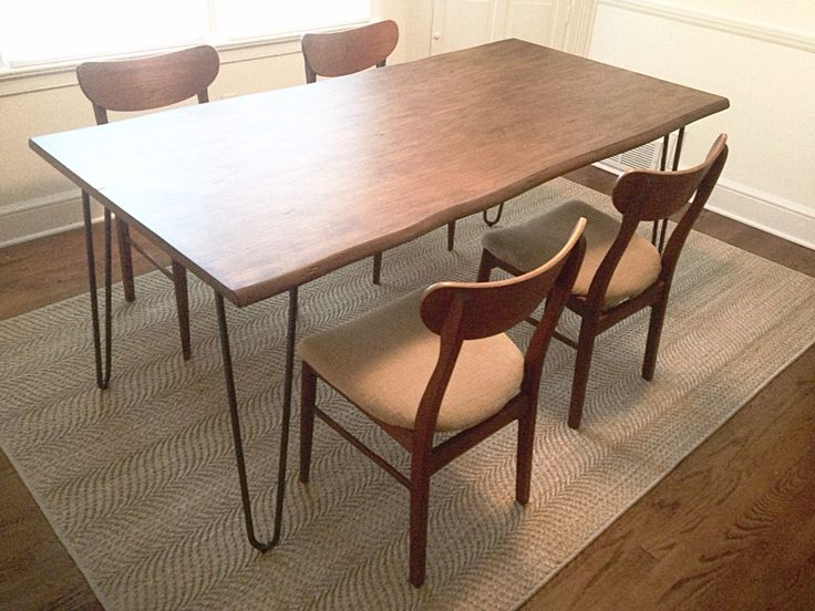 Cost Plus World Market Flynn HairPin Dining Table Paired With Mid Century Modern Chairs From Craigslist