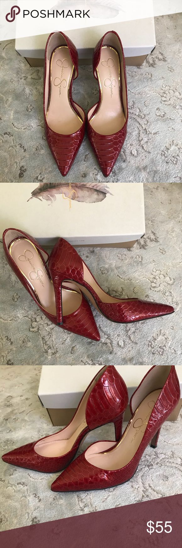 👠Heels by Jessica Simpson Red patten croc like material. Lightly used. Perfect for 🌲holiday wear. Jessica Simpson Shoes Heels