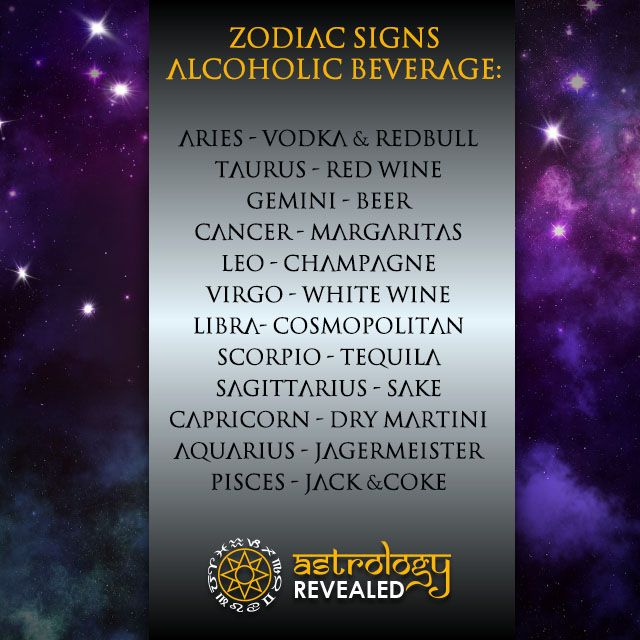 Zodiac Signs Alcoholic Beverage.   Follow Us Today!  Join Us As We Explore Horoscopes, Numerology, Tarot, Chakras And Much More.  Visit Our Site www.astrologyrevealed.com