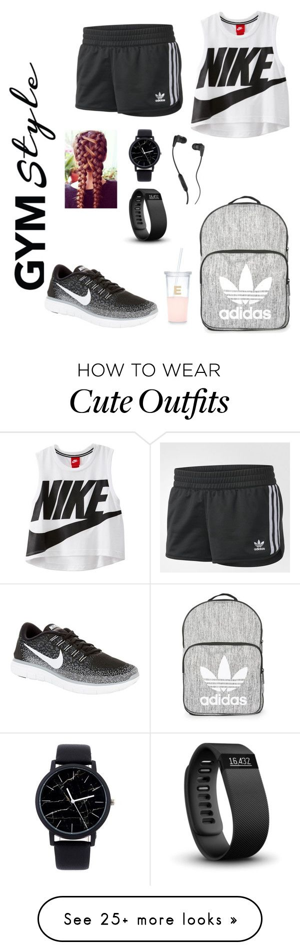 """""""cute track outfit"""" by heatherleah81 on Polyvore featuring adidas, NIKE, Topshop, Fitbit, Skullcandy and Kate Spade"""