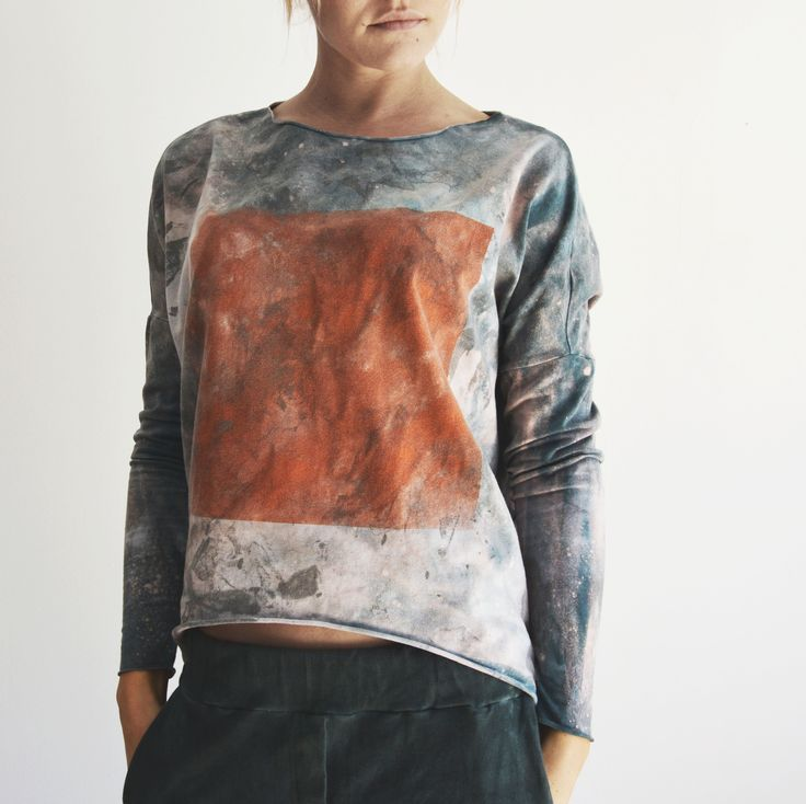hand dyed unique longsleeve by goshko rectangular series