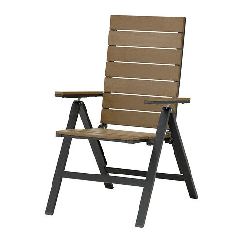IKEA - FALSTER, Reclining chair, outdoor, foldable black/brown,  , , Easy to fold up and put away.Polystyrene slats are weather-resistant and easy to care for.You can make your chair more comfortable and personal by adding a chair pad in a style you like.Polystyrene slats are weather-resistant and easy to care for.The furniture is both sturdy and lightweight as the frame is made of rustproof aluminum.