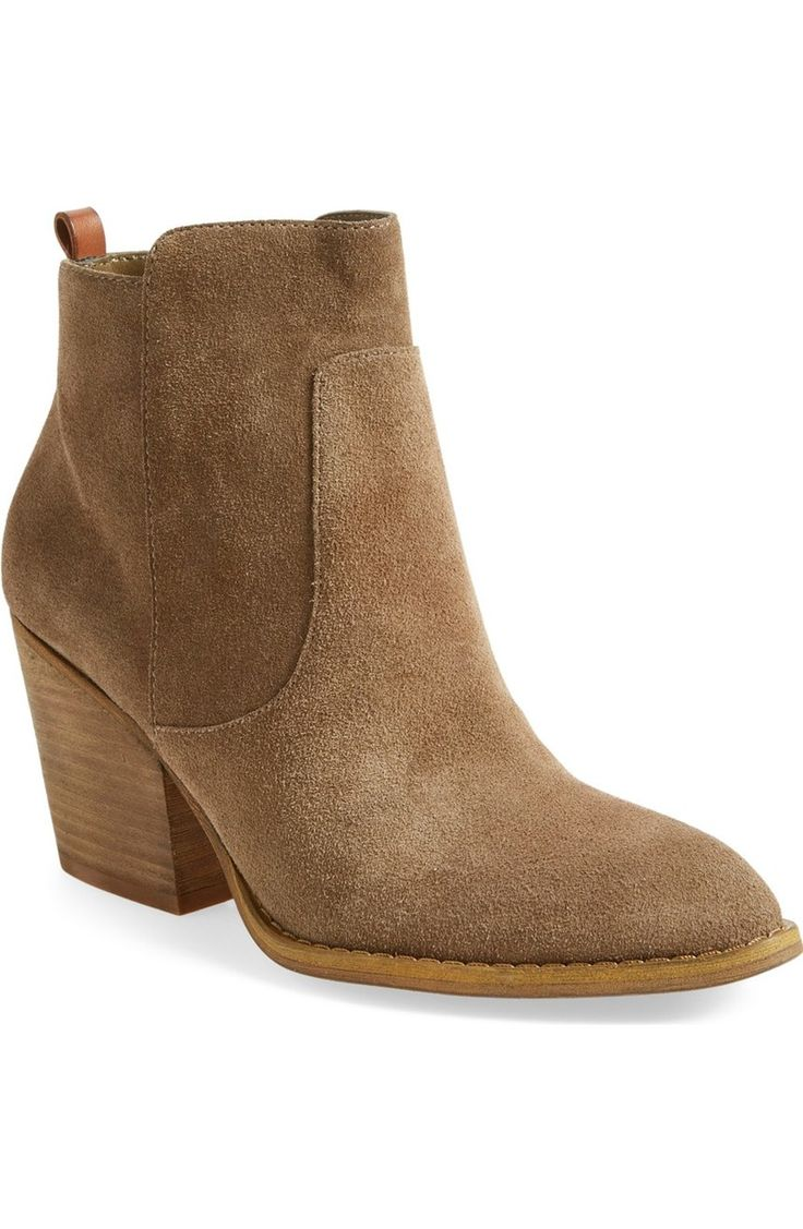 This clean-cut and effortlessly versatile suede ankle bootie set on a stacked block heel has serious wardrobe-favorite potential. A must from the #NSale!