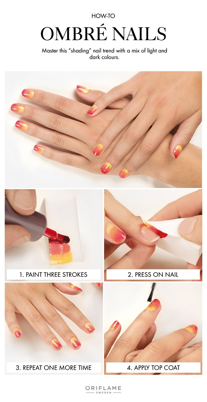 Rock the ombré nail look by applying lighter colours on the bottom of your nails and darker colours towards the tips.