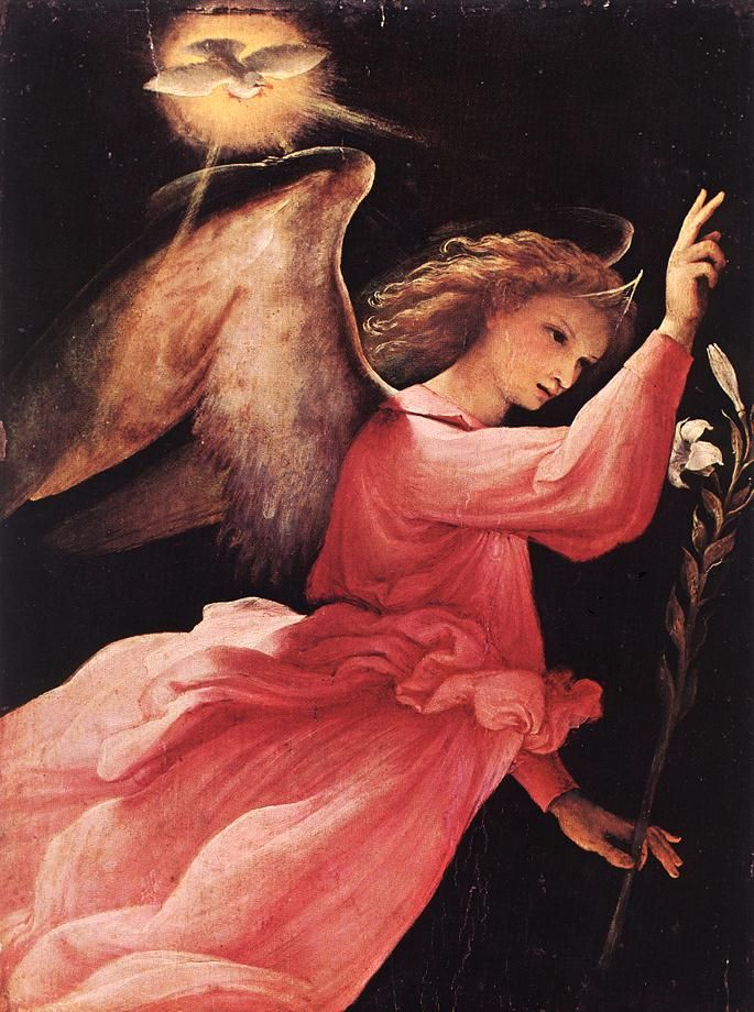Lorenzo Lotto The Angel of the Annunciation, 1527\In chat & available for #reading #gifted #medium ....angelicrealmconnection.com