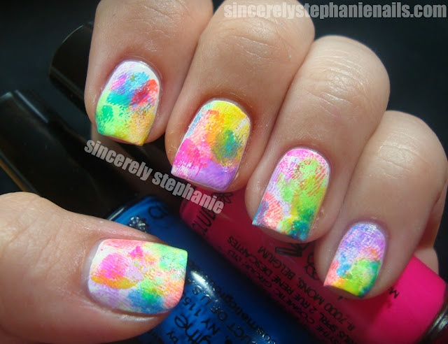 39 best nails images on pinterest nail ideas nails and style finger print nail art use various colors place on wax paper press on nail press on paper to get excess polish off prinsesfo Images