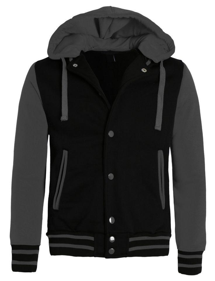 LE3NO Mens Casual Varsity Baseball Jacket with Detachable Hoodie