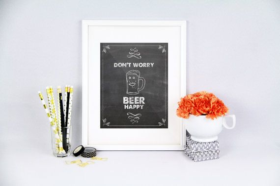 Kitchen pun don't worry beer happy beer pun by PureJoyPrintables