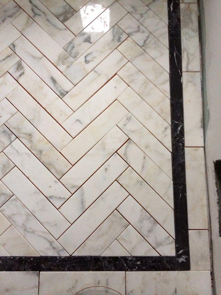 131 best incredible tile images on pinterest bathrooms for Small bathroom herringbone tile