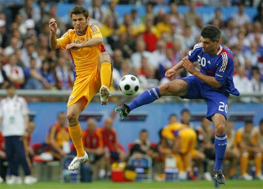 Romania 0 France 0 in 2008 in Zurich. Adrian Mutu and Jeremy Toulalan go for the ball in Group C at Euro 2008.