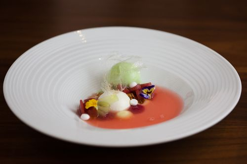 #Recipe - La Rhubarbe from Pastry Chef Monica Glass of Clio: #Rhubarb, #Labne Mousse, Cucumber #Sherbet, #PineNut-#Quinoa #Granola, #MeyerLemon-#Sake Kasu Curd, and Quinoa Tuile