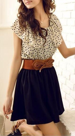 Cream and Black Blouse / Brown Belt / Black Flare Skirt