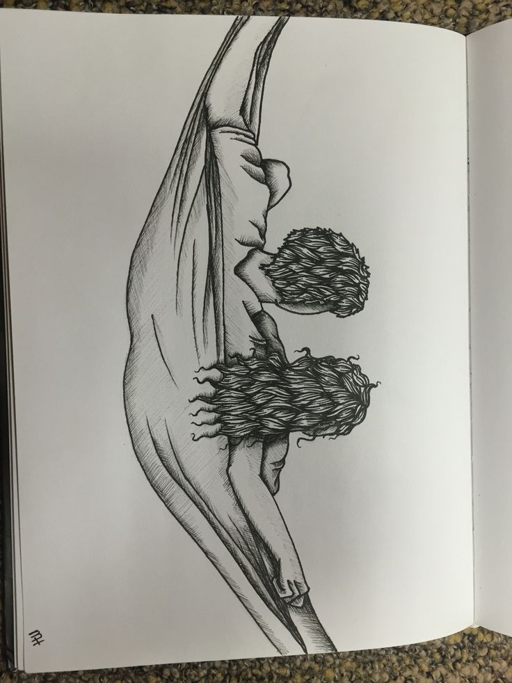 pencil sketches of couples hugging
