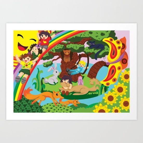 a group of kids playing and having fun in a world of imagination. #kids #children #playing #havingfun #games #swing #slides #butterfly #fox #sun #owl #cat #rabbit #bunny #foxes #fun #zarya