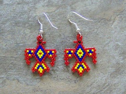 Thunder Bird Earrings Hand Made Seed Beaded by wolflady on Etsy