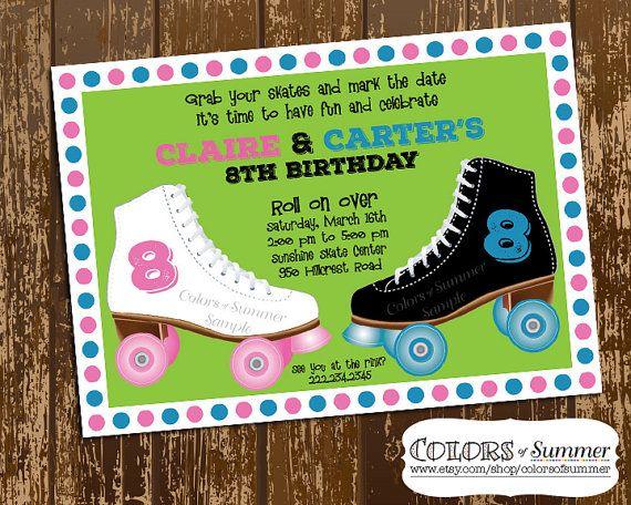 TWINS! Skating Birthday Invitation Skate Invite Boy & by colorsofsummer