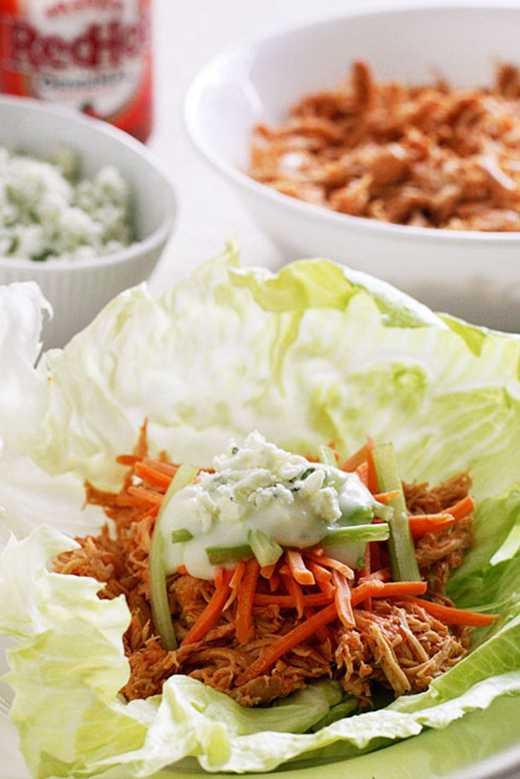 77 Healthy Crock-Pot Recipes: Buffalo Chicken Lettuce Wraps #healthy #crockpot #slowcooker #recipes