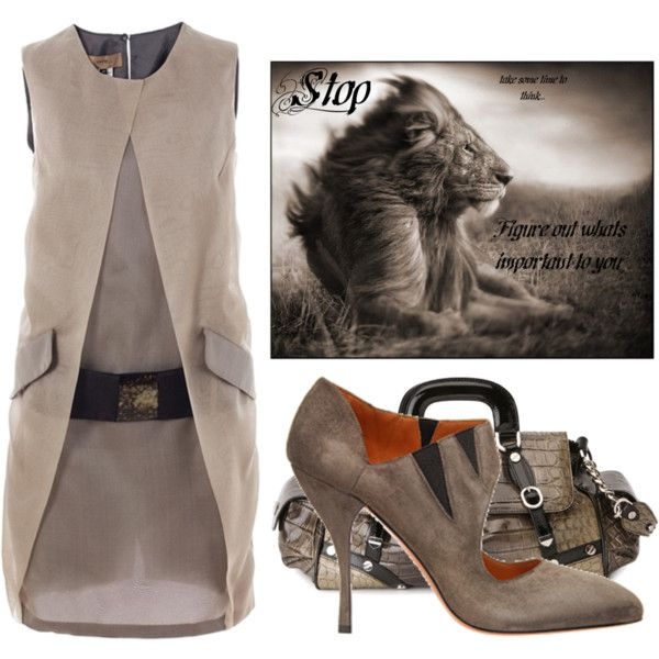 Lion by sonia1 on Polyvore featuring мода, Haute, Alaïa and Versus