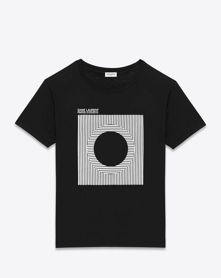 saintlaurent, ビニールTプロジェクト半袖Tシャツ(ブラックとホワイトのジャージコットン)
